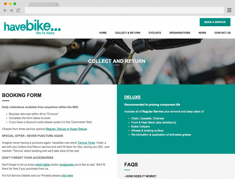 Booking form for have bike Collect & Return