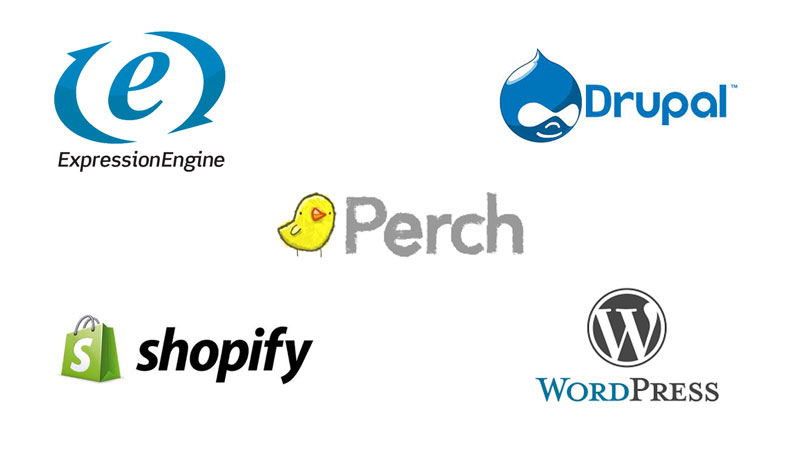 We use Perch CMS, WordPress, Drupal, Expression Engine and Shopify as content management systems regularly.
